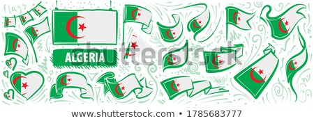Vector set of the national flag of Algeria in various creative designs Stock photo © butenkow