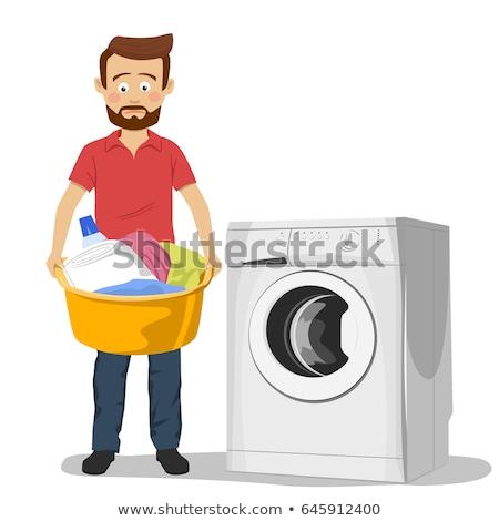 человека прачечной одежды стиральная машина дома Сток-фото © AndreyPopov