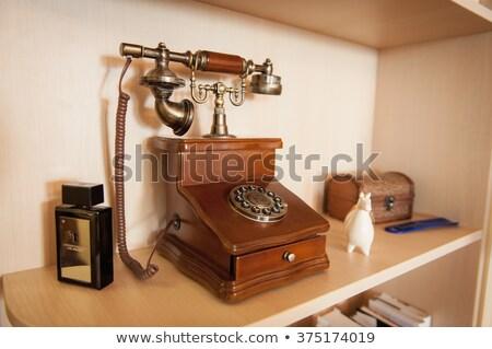 Klasszikus telefon retro gyönyörű szobor fa Stock fotó © ruslanshramko