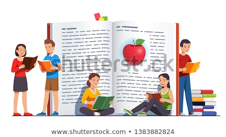 Donna lettura grande libro aperto segnalibro vettore Foto d'archivio © robuart