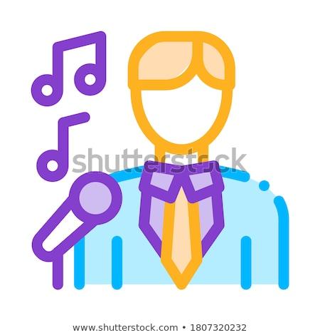 Adam takım elbise mikrofon şarkı söyleme vektör izometrik Stok fotoğraf © pikepicture