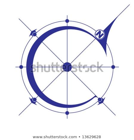 Stockfoto: North Compass Map Arrow Bluepriint