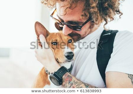 crazy man and his dog Stock photo © 26kot