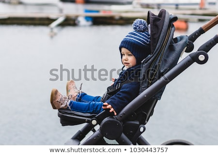 toddler sitting in a pram on walk stock photo © phbcz