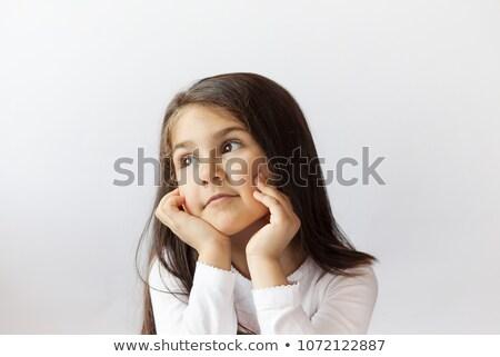 nadenkend · jong · meisje · portret · jonge · brunette - stockfoto © lithian