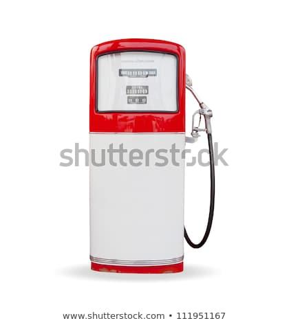 piros · benzinpumpa · izolált · fehér · fenék · oldalnézet - stock fotó © Arsgera