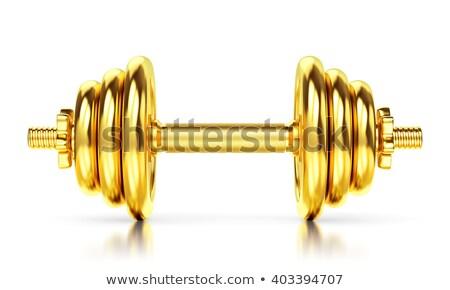 Altın dambıl beyaz kalabalık siyah ağırlık Stok fotoğraf © Ciklamen