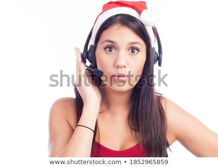 christmas · hoofdtelefoon · vrouw · telemarketing · call · center - stockfoto © nobilior
