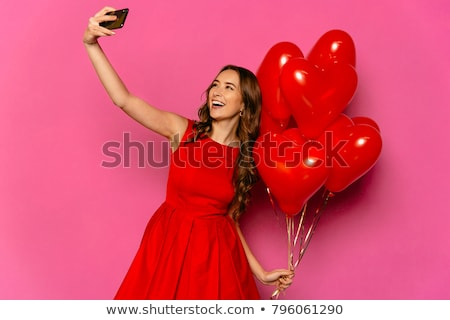 ストックフォト: 女性 · 赤 · 中心 · バルーン · 面白い · 飛行