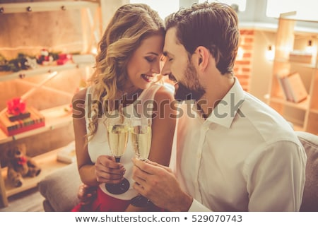 mutlu · çift · şişe · şampanya · gözlük · kutlama - stok fotoğraf © photography33