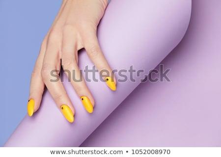 menina · violeta · unhas · retrato · belo · morena - foto stock © zastavkin