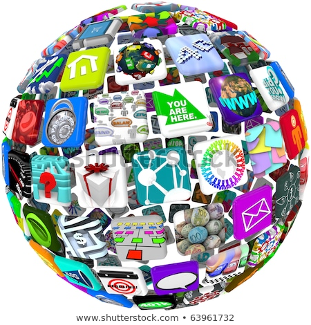 App Icons in a Sphere Pattern Stock photo © iqoncept