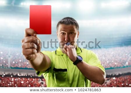 Schiedsrichter · rot · Karte · weiblichen · Mädchen - stock foto © pedromonteiro