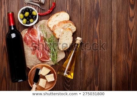 Serrano ham brood wijn glas fles Stockfoto © M-studio