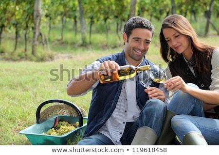 Zdjęcia stock: Couple Tasting Wine In Field