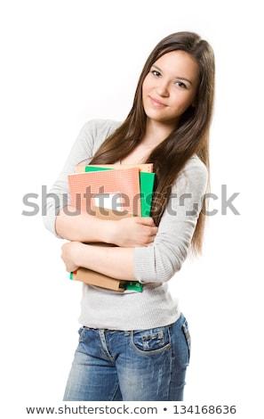 ゴージャス · 小さな · ブルネット · 学生 · 屋外 · 肖像 - ストックフォト © lithian