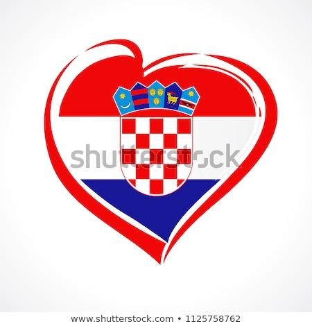 Stock photo: Image of heart with flag of Croatia