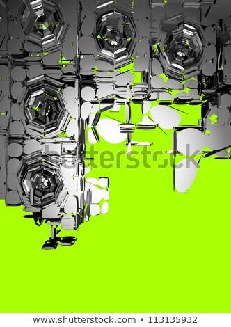 3d render zilver chroom groene muziek partij Stockfoto © Melvin07