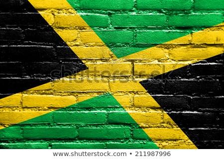 Stockfoto: Vlag · Jamaica · muur · geschilderd · grunge · textuur