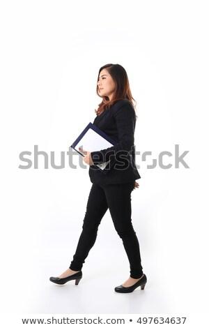 Jonge aantrekkelijk zakenvrouw boek lopen mooie Stockfoto © gromovataya