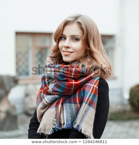 glimlachend · blond · vrouw · trui · cardigan - stockfoto © carlodapino