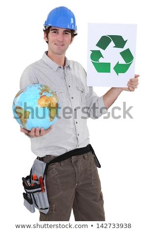 Tart földgömb szimbólum újrahasznosítás zöld kék Stock fotó © photography33