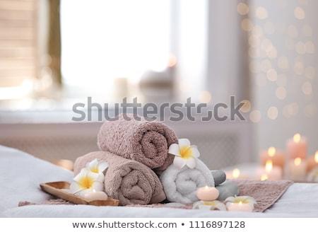 Foto stock: Toalhas · estância · termal · conjunto · isolado · branco · bar