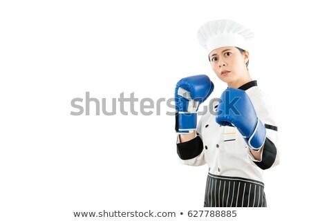 vrouwelijke · bokser · klaar · strijd · witte · sport - stockfoto © wavebreak_media