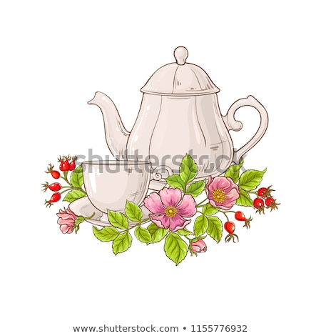 tea pots and cups with fruits, vector Stock photo © beaubelle