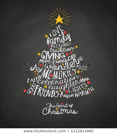 Christmas tree word clouds in red background Stock photo © seiksoon