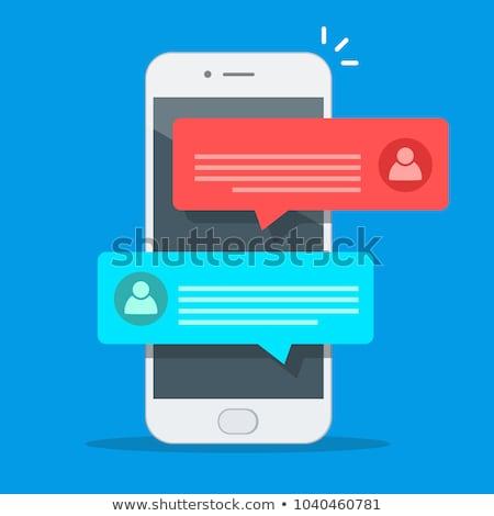 Sms smutne kobieta wiadomość telefonu komórkowego Zdjęcia stock © silent47