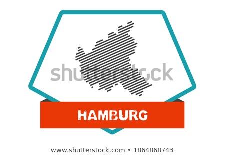 Botón hamburgo mapa bandera rojo tarjeta Foto stock © Ustofre9