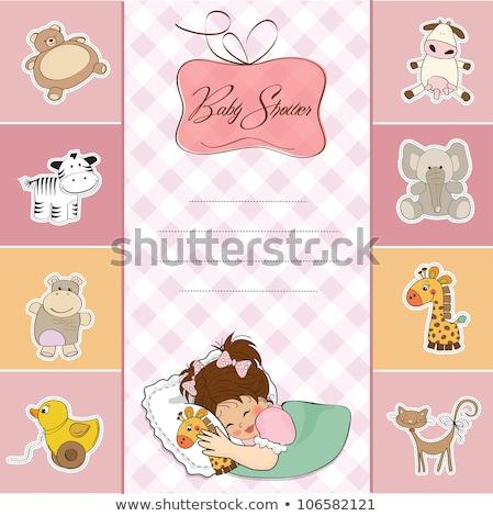 Kinderachtig aankondiging kaart nijlpaard speelgoed Stockfoto © balasoiu