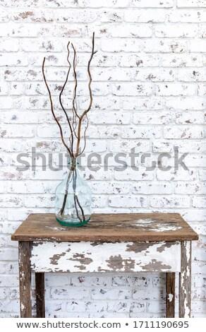 öreg · zöld · szoba · beton · fal · fapadló - stock fotó © ixstudio