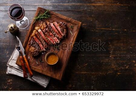 rib · oog · biefstuk · geserveerd · wijn · boter - stockfoto © rohitseth