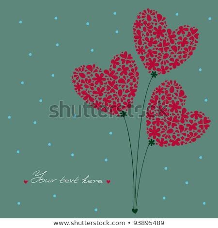 Greeting Card. Bouquet of Flowers in a heart-shaped, built of small flowers on a background with dot Stock photo © mcherevan