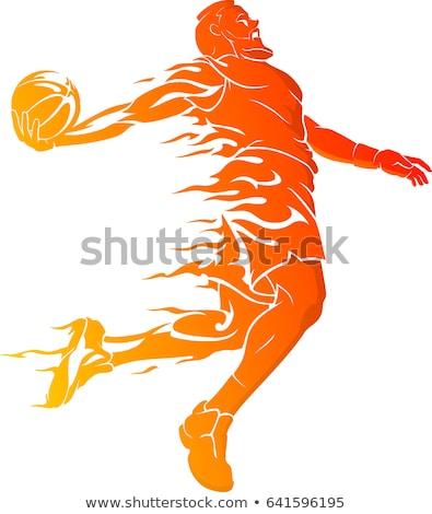 Vurig basketbal silhouet illustratie atleet brand Stockfoto © ArenaCreative