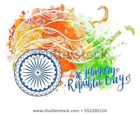 26 january beautiful calligraphy happy republic day text tricolo Stock photo © bharat