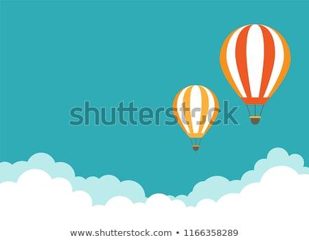 Сток-фото: два · шаров · полет · гор · небе · облака