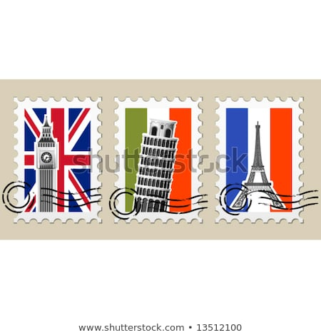 Three Postmarks with sights of Europe and stamps Stock photo © Winner