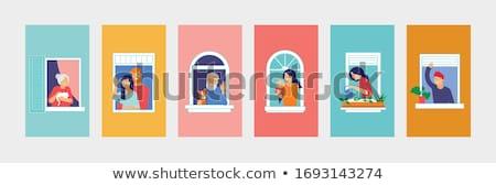 Homlokzat otthon idős emberek modern háttér lakás Stock fotó © meinzahn