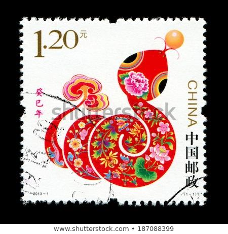 12 chińczyk zodiak znaczek pocztowy projektu myszą Zdjęcia stock © myfh88