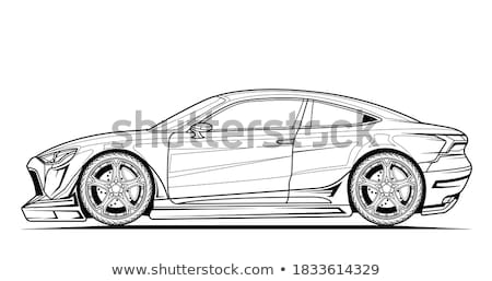 Monochrome picture of a fast sportcar isolated on white backgrou Stock photo © Nejron