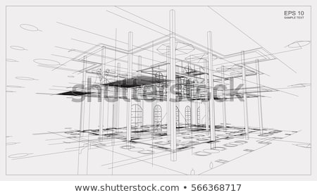 3d modern building and plan blueprint Stock photo © designers