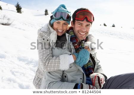 Stockfoto: Ski · vakantie · paar · sneeuw · portret