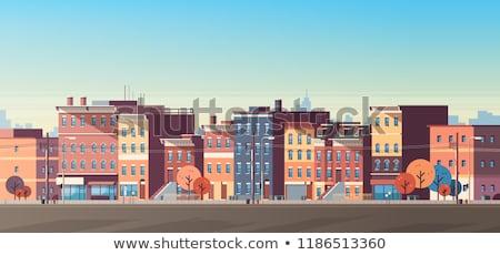 şehir sahne ayarlamak eski evler siyah beyaz Stok fotoğraf © ElaK
