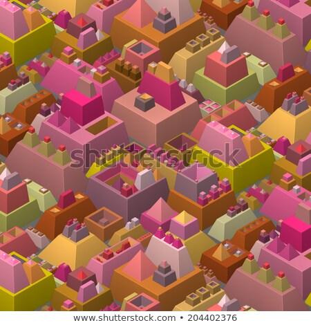3D stilizált futurisztikus város többszörös fényes Stock fotó © Melvin07