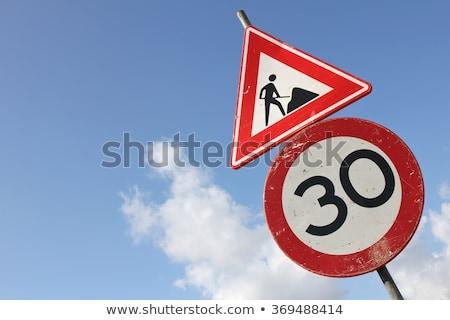 дороги · Blue · Sky · знак · шоссе · белый · диска - Сток-фото © my-photomir