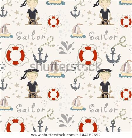 Cute blond morski pasiasty niebieski odzież Zdjęcia stock © dash