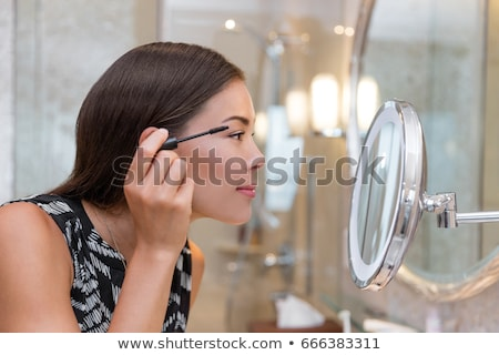 aantrekkelijke · vrouw · make-up · ruimte · badkamer · huid · vrouwelijke - stockfoto © dashapetrenko